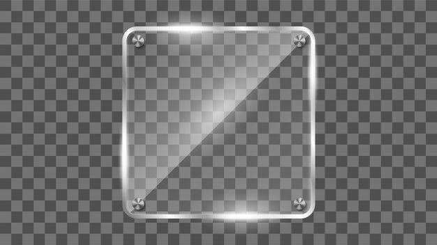 Square glass frame reflecting glass ban  Premium Vector