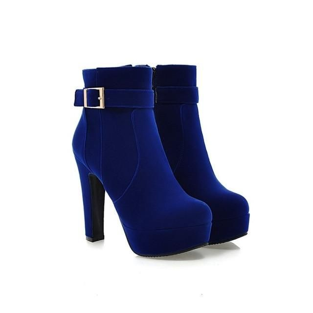 New Round Toe Buckle Boots For Women Sexy Ankle Heels Fashion Winter Shoes Casual Zip Snow Sx-13