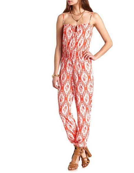 998ad853b31a Tribal Print Spaghetti Strap Jumpsuit  Charlotte Russe