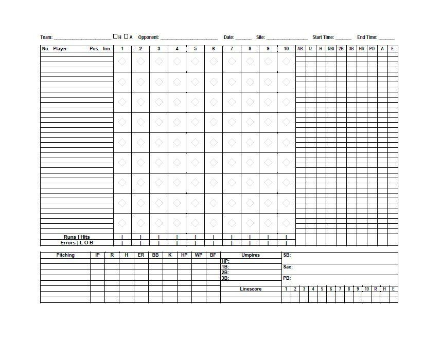 Baseball Scoresheet Template   Baseball Score Sheet