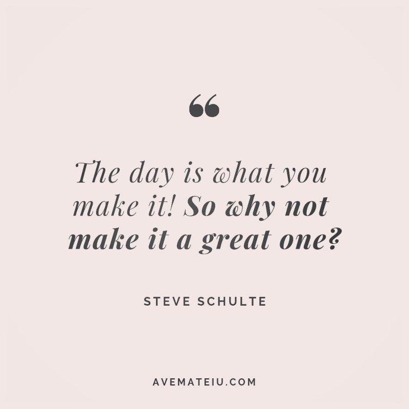 The day is what you make it! So why not make it a great one? Steve Schulte Quote 258 - Ave Mateiu