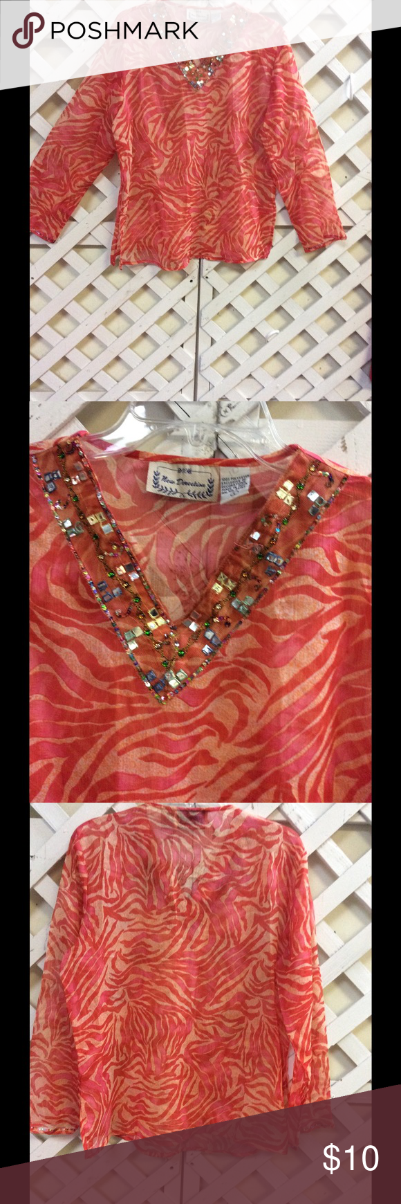 New Direction Sheer Top Sz L Safari Shirt Orange Beautiful sheer top by New Direction.  Gorgeous pattern .Very light. Size Large.Jewel embellished around neckline and sleeves. new directions Tops Blouses