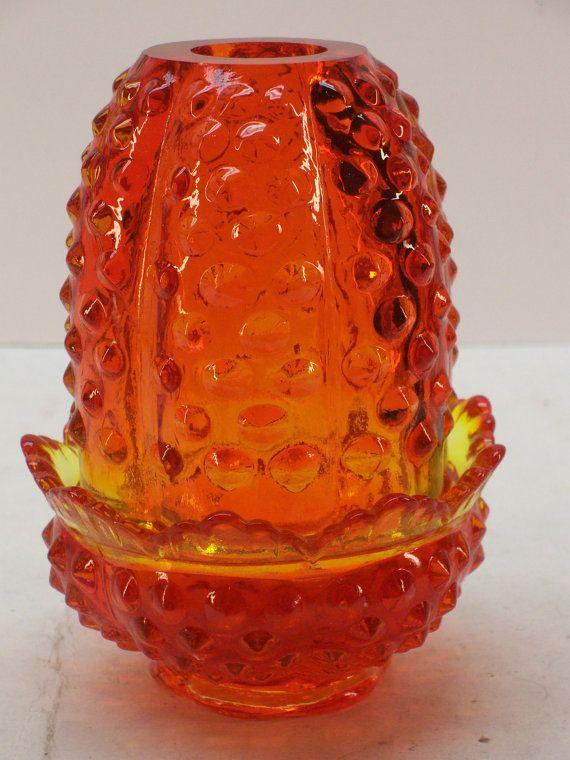 Vintage Fenton Hobnail Amberina Glass Fairy Lamp Unmarked