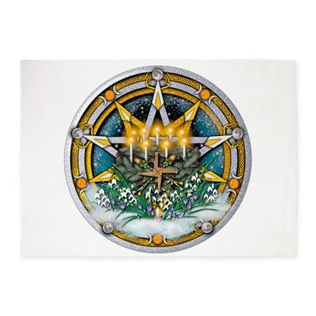 Imbolc Pentacle 5 X7 Area Rug By