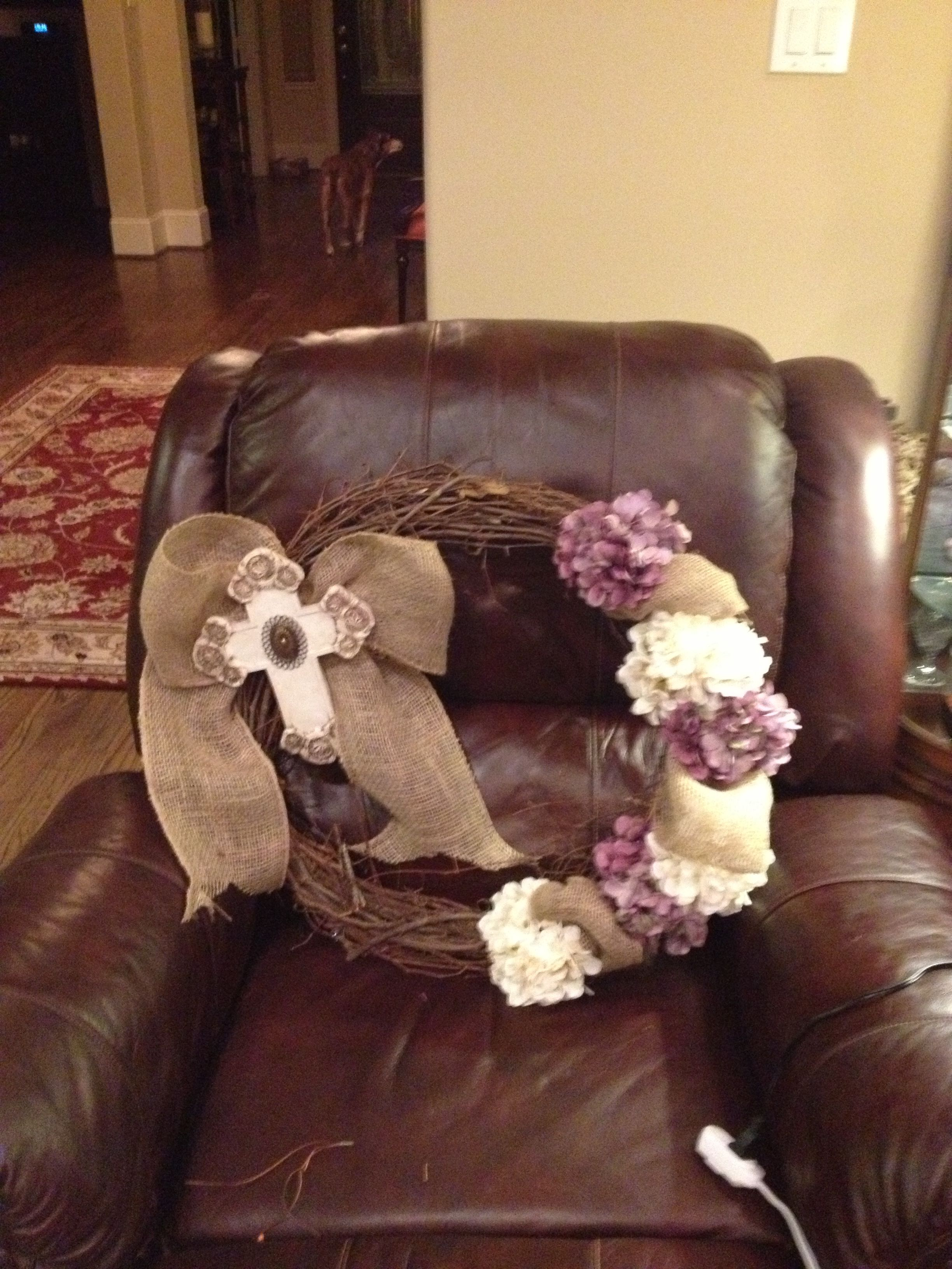 Wooden wreath with burlap ribbon hydrangeas cross from hobby lobby