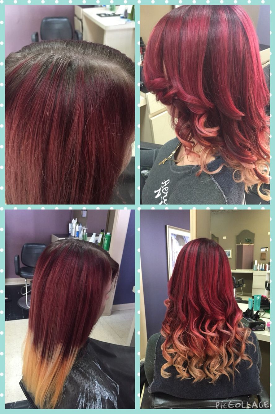 Started With Grown Out Faded Red And Transitioned Her Into A Beautiful Violet Red Blonde Ombre Red Blonde Ombre Blonde Ombre Red To Blonde