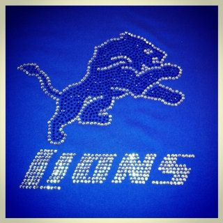 new products bf3a8 ff4cf Detroit Lions Rhinestone Bling Shirt by BlingItOn4U on Etsy ...