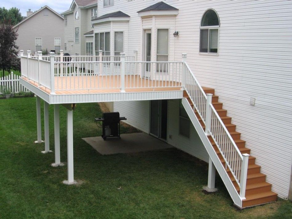 Exterior Wonderful White Wood House Exterior Decoration With Deck   Stairs Design Outside The House   Family House   Exterior   Wall   Steel   Main Entrance Step