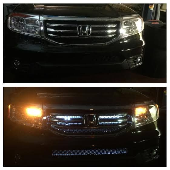 Incredible effects with the LED strips installed in the grill on this 2015 Honda Pilot. Installed Sound of Tri State - Wilmington Kirkwood Hwy location #LED # LEDlights #Honda #headlights #soundoftristate