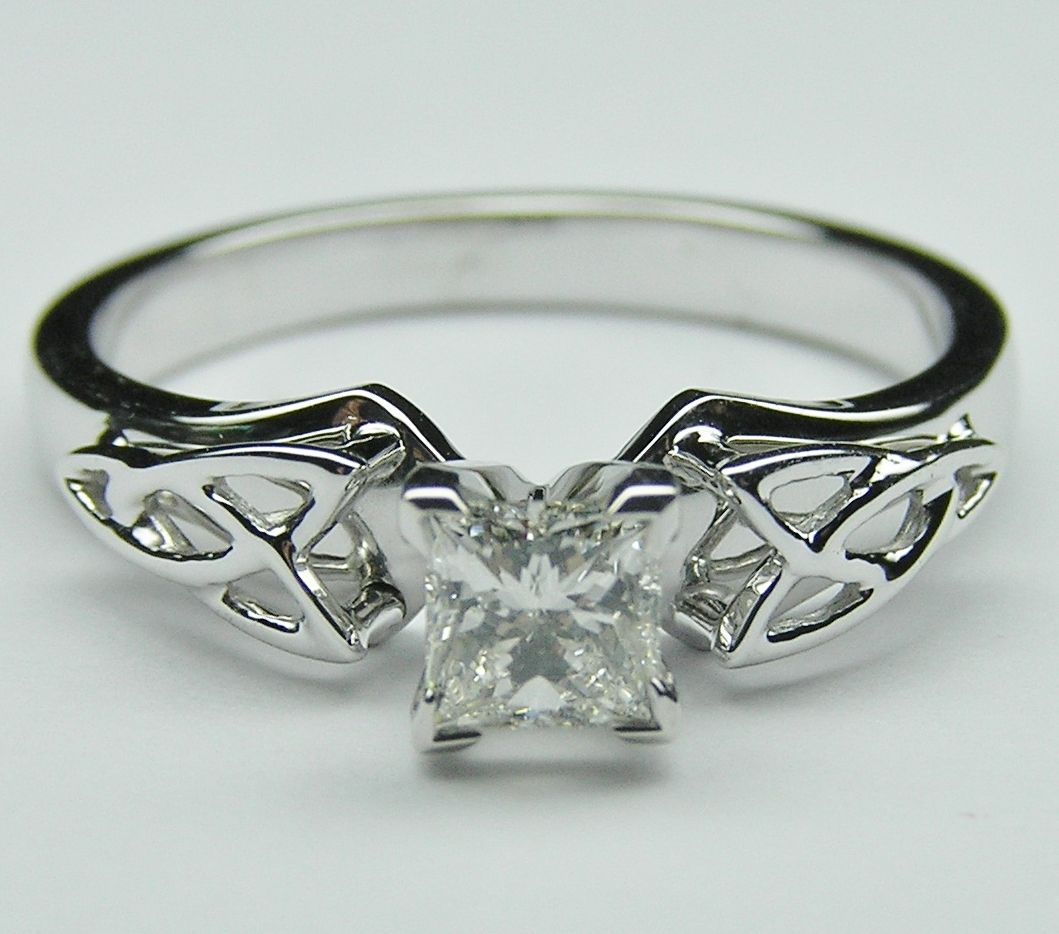 Princess Diamond Triquetra Celtic Engagement Ring Wed