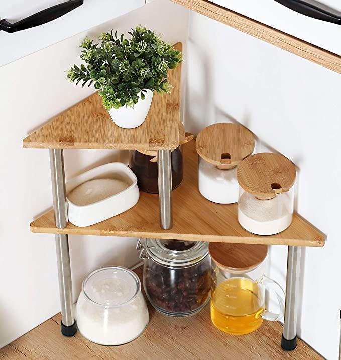 Amazon Com Hynawin Corner Shelves 2 Tier Spice Rack Standing Pantry Cabinet Storage Shelf Corner Shelves Kitchen Kitchen Shelves Organization Standing Pantry
