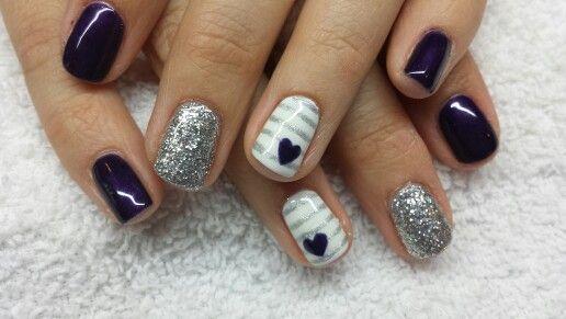 Purple silver heart stripe nails