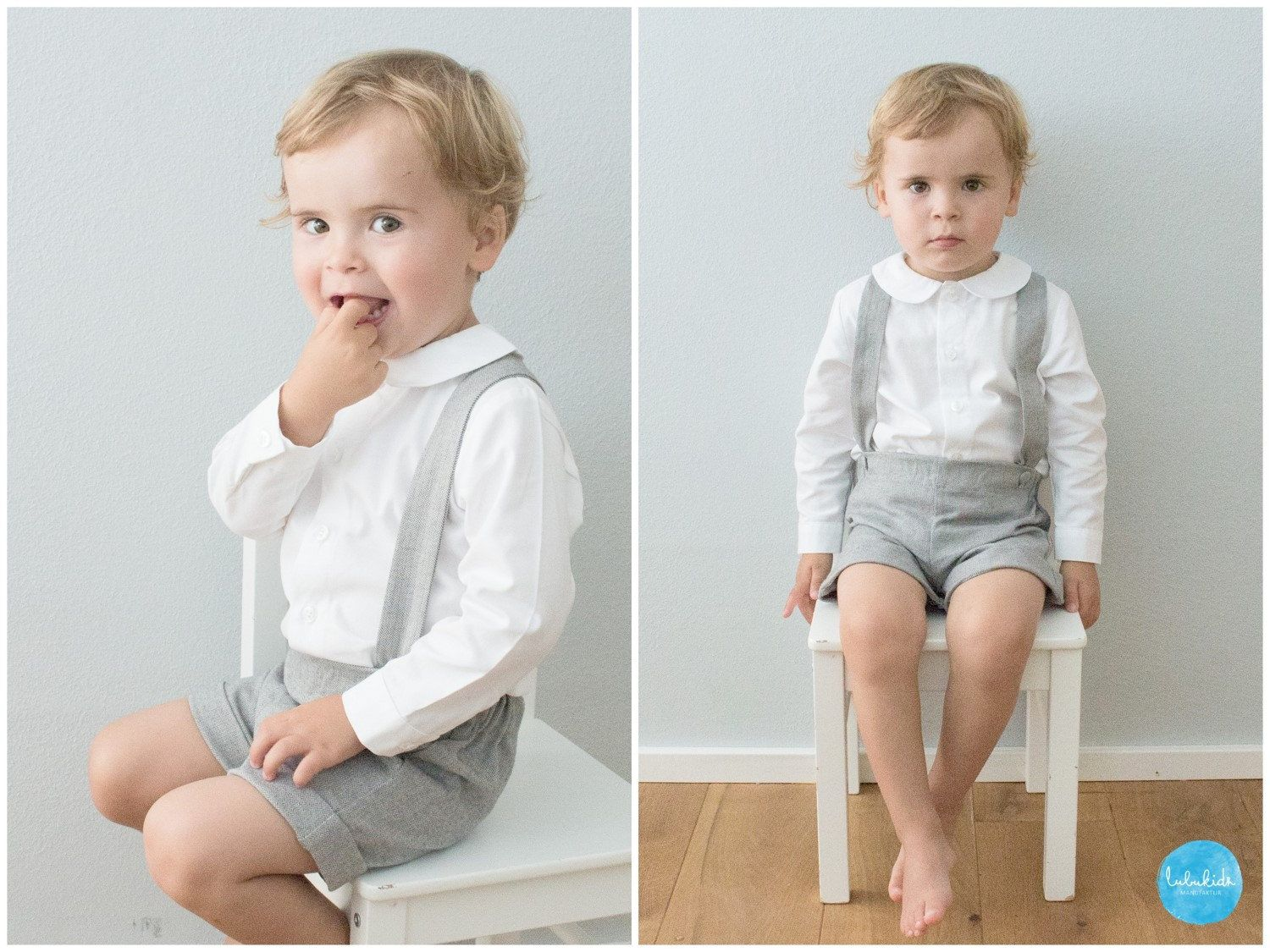 2 Teiliges Outfit Graue Tweed Shorts Mit Hosenträger Baby
