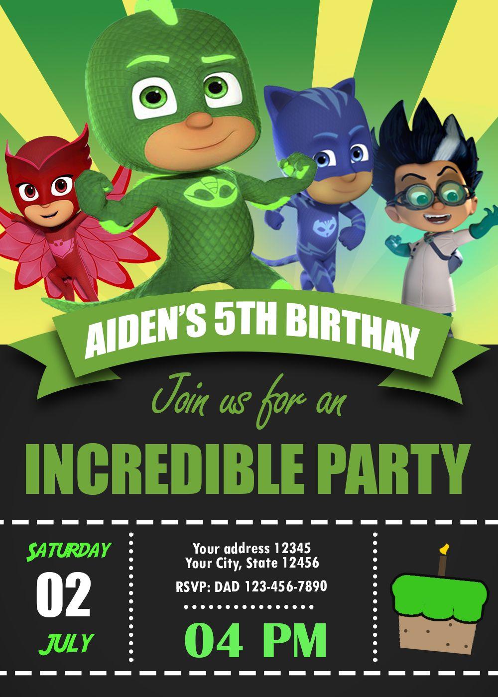 PJ MASKS BIRTHDAY PARTY INVITATION INVITE BIRTHDAYPARTY BIRTHDAYINVITATION