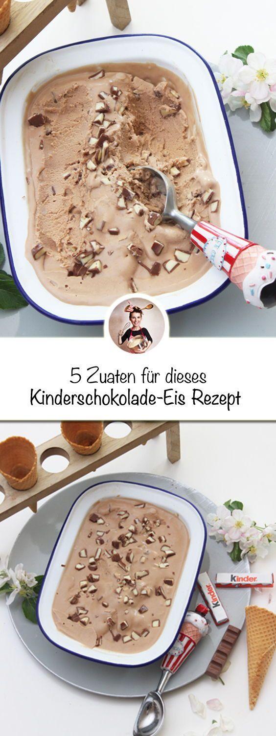 Mit 5 Zutaten ein Kinderschokolade-Eis Rezept machen? Klar geht das. Wie zeig ich Dir auf meinem Foodblog! #kinderschokolade #eis #eisrezept #eisselbermachen #rezeptaufdemblog #chocolatedessertrecipes