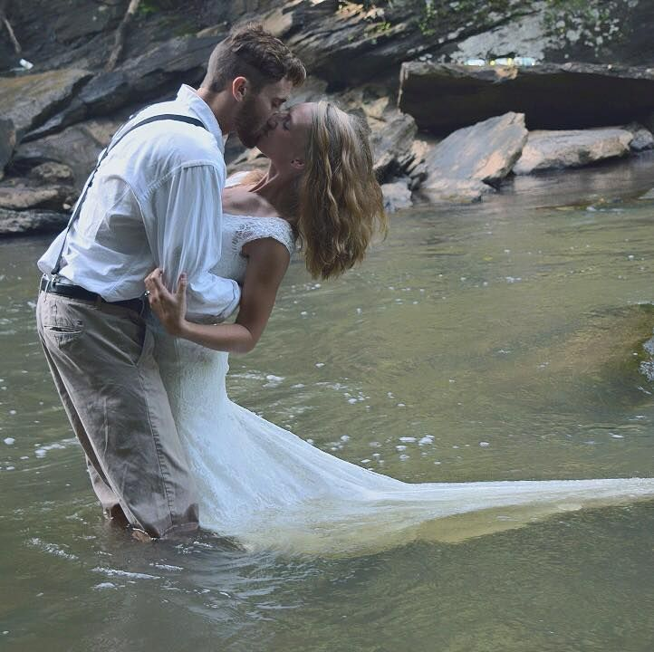 River Photo Shoot Ideas: Trash The Dress Waterfall River
