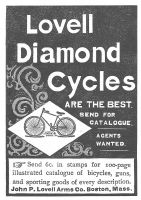 1893 Vintage Bicycle Ad - Lovell Diamond Cycles, Model 10 - The Best. Send for Catalogue. Agents Wanted. Send 6 cents in stamps for 100 page illustrated catalogue of bicycles, guns, and sporting goods of every description. John P. Lovell Arms Company, Boston, Massachusetts.