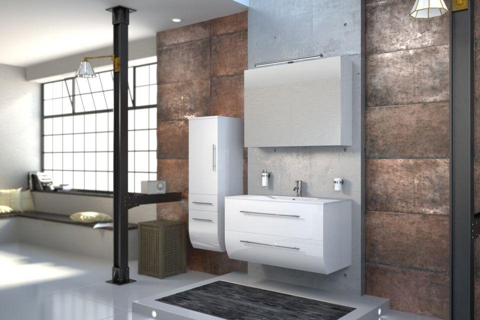 Hochglanz badezimmermöbel ~ Badmöbel zarif 3tlg hochglanz weiß 90 cm waschplatz