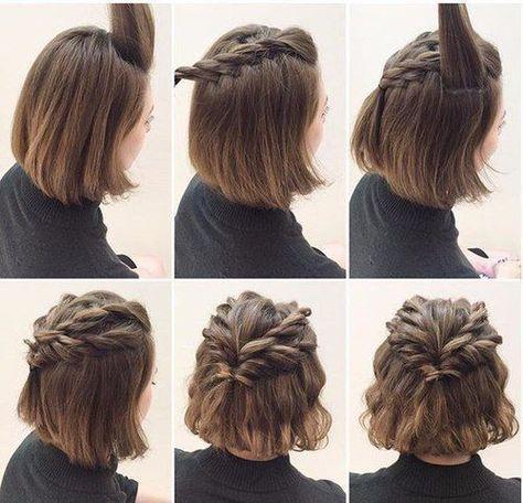 Einfache Nette Frisur Fur Kurzes Haar Tutorium Zopf Kurze Haare Flechtfrisuren Geflochtene Frisuren