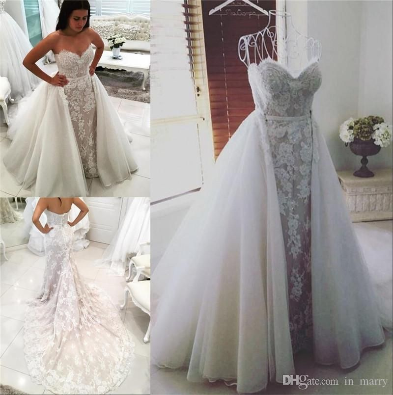 Retro Middle East Mermaid Overskirts Wedding Dresses Detachable Trains 2017 Trumpet Sweetheart Lace Low Back African Arabic Bridal Gowns