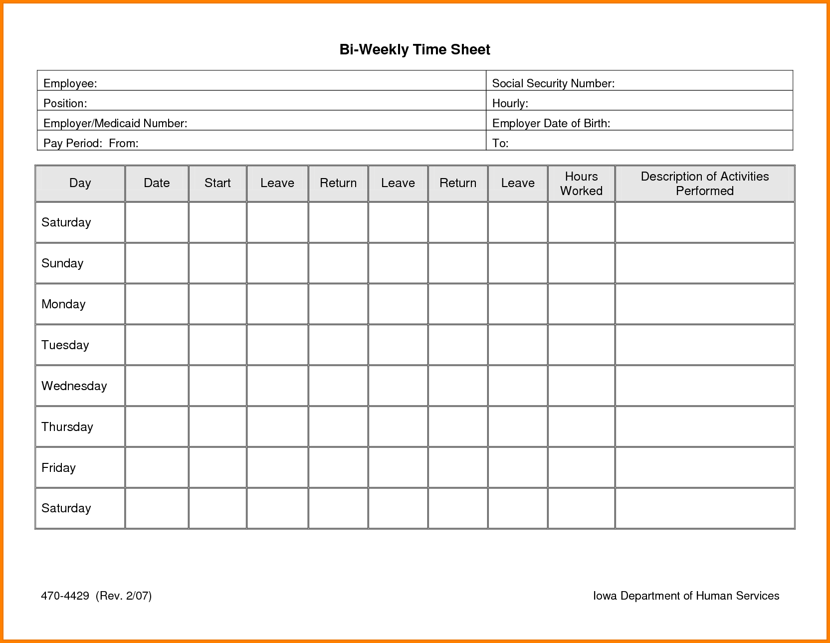 Image Result For Free Printable Timesheets