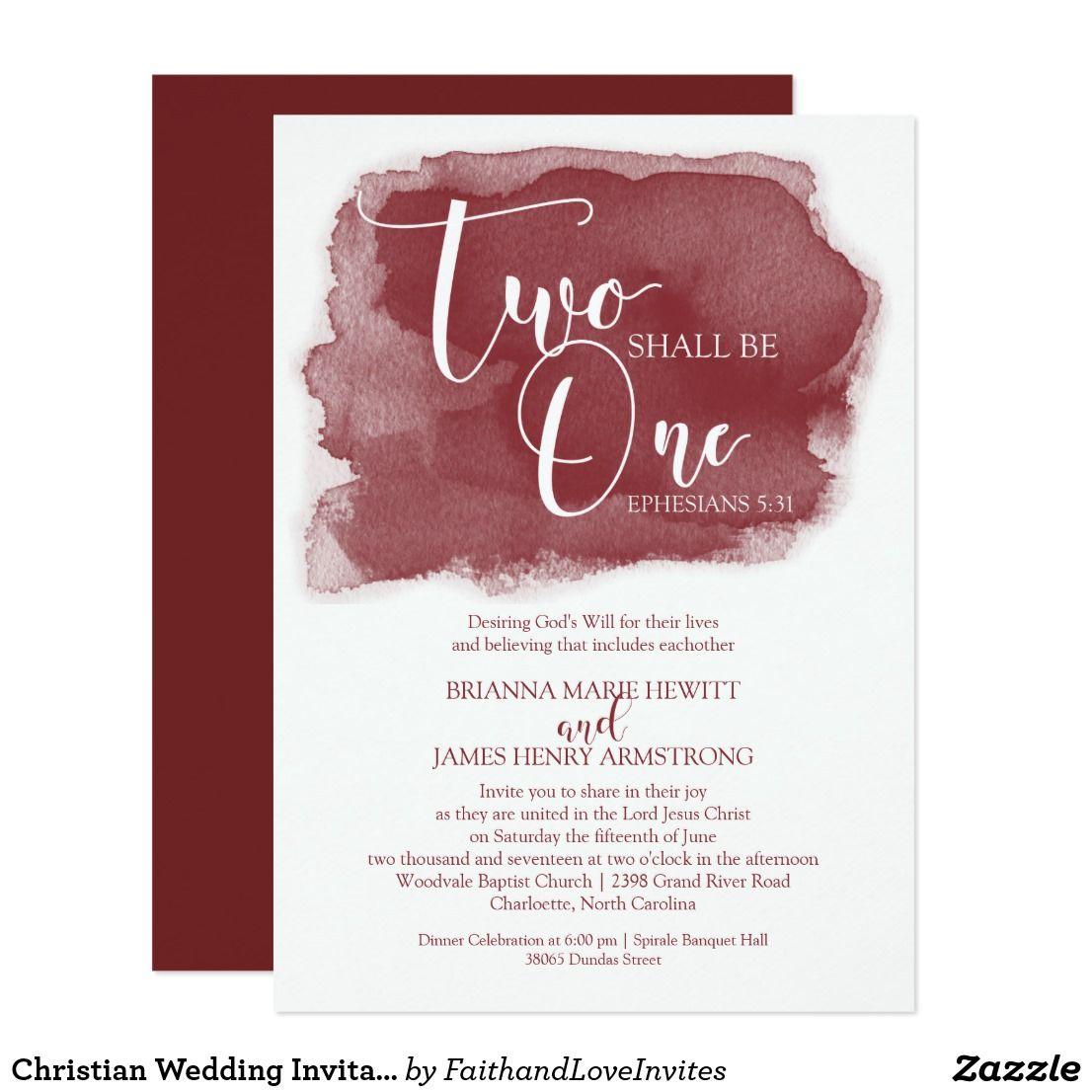 Christian Wedding Invitation Watercolor Marsala Zazzle