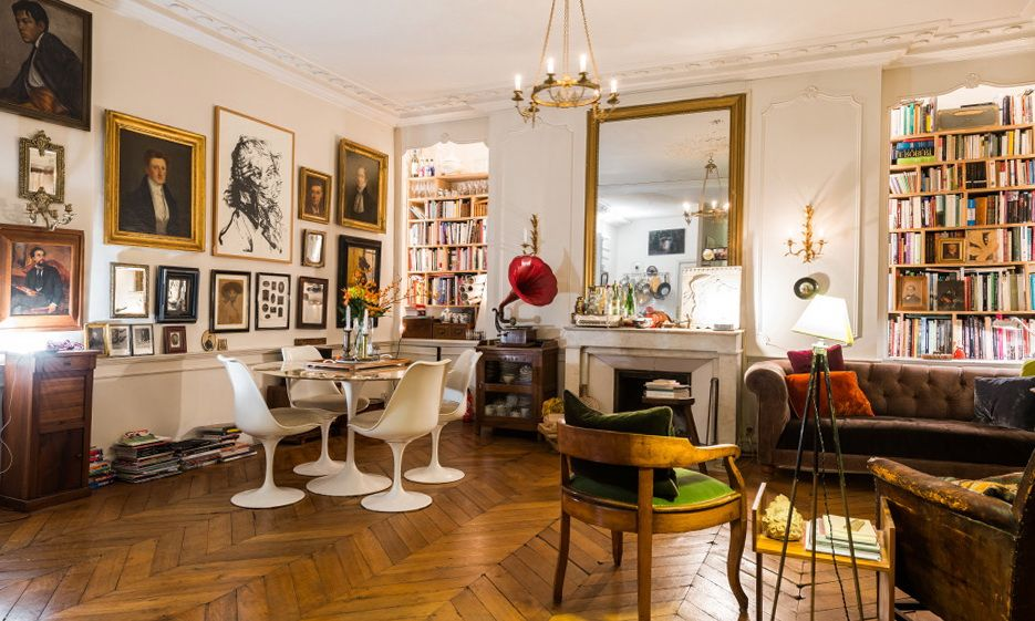 Paris Apartment Decorating Style very parisian studio apartment: glazed doors, marble table