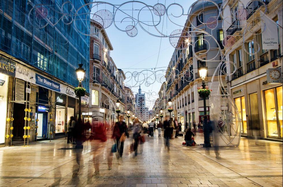 Calle Larios, Malaga, Costa del Sol and Costa de Almeria, Spain