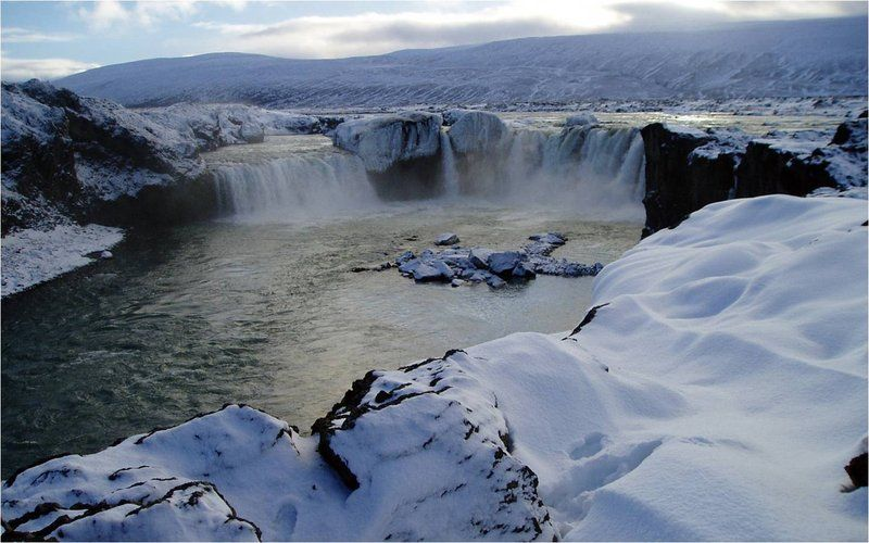 #Goðafoss (Waterfall of the Gods), North #Iceland in wintertime
