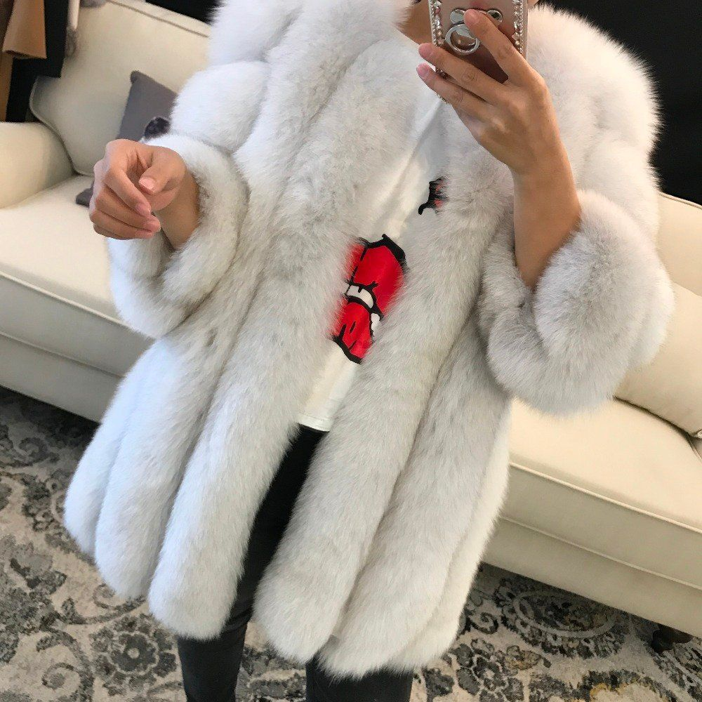 103c5c2b98e WHITE FOX FUR STRAIGHT COAT | M A Y F U R S | my style | Winter ...