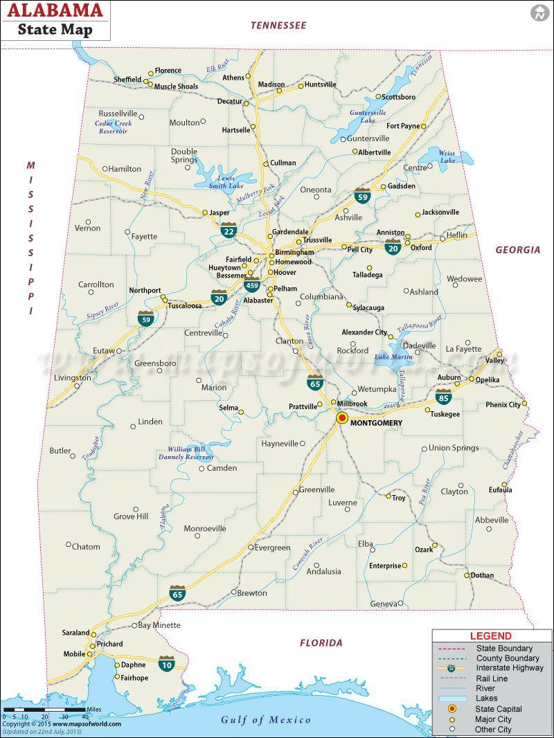 State Map Of Alabama Alabama Maps Pinterest Alabama And City