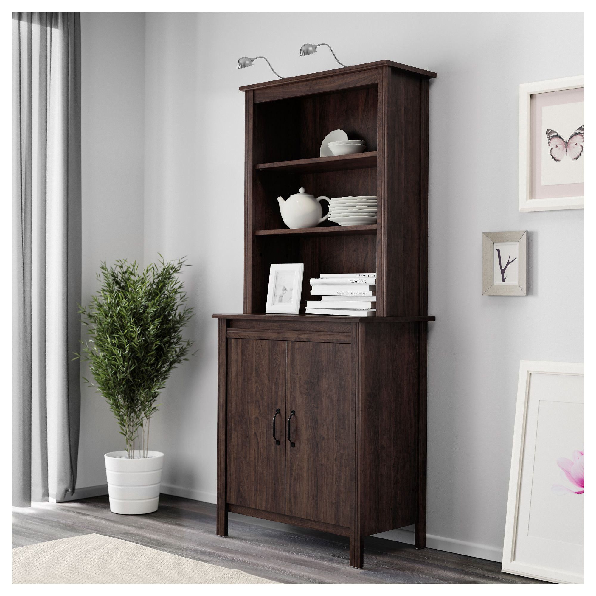 Ikea Brusali High Cabinet With Doors Brown Adjule Shelves So You Can Customize Your Storage As Needed