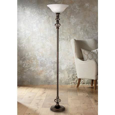 Open Frame Accent Wrought Iron Torchiere Floor Lamp
