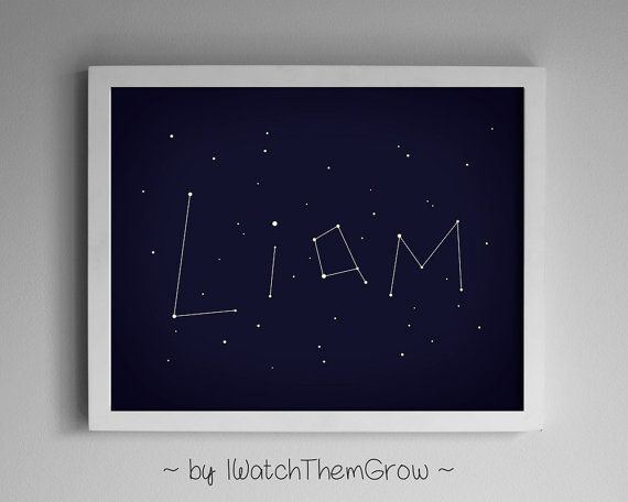 Personalized Printable Name Constellation Art, Personalized Wall Art for Nursery Kid's Bedroom, Stars Night Sky, 8x10 or 11x14 DIGITAL FILE