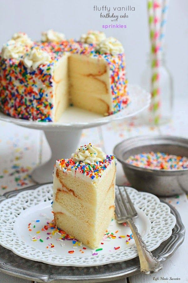 My favorite Vanilla Birthday Cake with Vanilla Bean Frosting A
