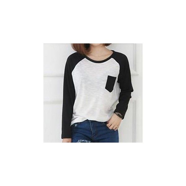 Long-Sleeve Raglan T-Shirt (360 CZK) ❤ liked on Polyvore featuring tops, t-shirts, tees, women, raglan sleeve top, raglan tee, long sleeve tee, longsleeve t shirts and longsleeve tee