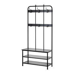 Pinnig Coat Rack With Shoe Storage Bench Black 76 Bench With