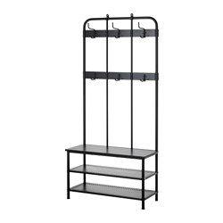 pinnig coat rack with shoe storage bench black