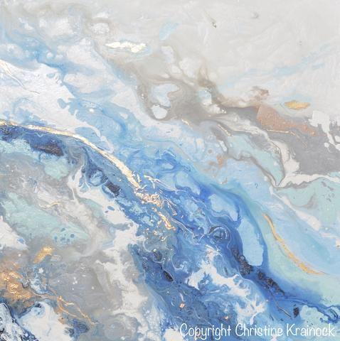 Original Art Modern Blue White Abstract Painting Marbled Blue Grey Gold Leaf Coastal Decor Wall Art 36x36 Blue Abstract Painting Abstract Painting Abstract