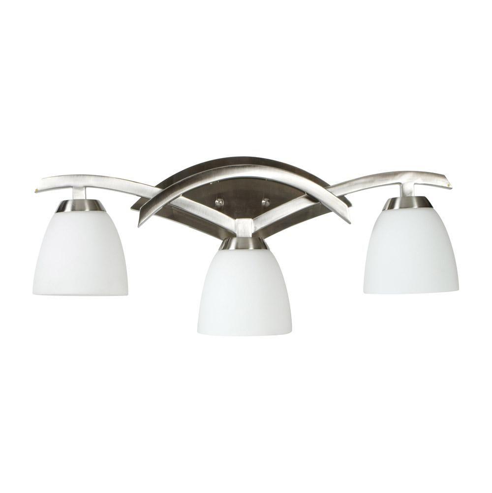 Bathroom Vanity 3 Light Fixture Brushed Nickel Bell Wall Lighting Allen Roth: Brushed Nickel Bathroom Lighting Fixtures