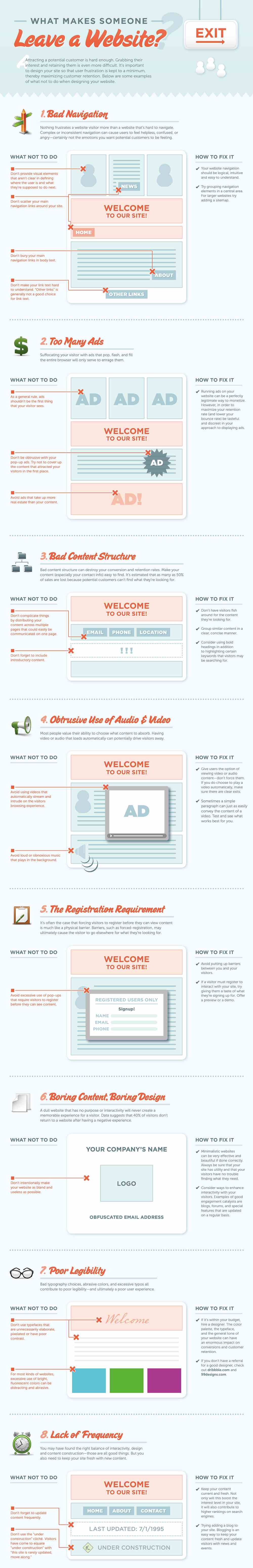 8 Reasons Why People Leave A Website Infographic Infographic Website Ontwerp Website