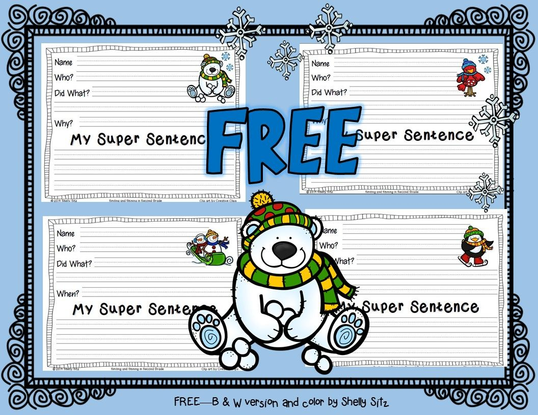 Winter Super Sentences Freebie In Color And Black Amp White
