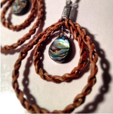 Cedar Weaving by Jaimie Davis - Jada Creations (on FB) Custom Abalone double drop earrings https://www.facebook.com/media/set/?set=a.1787734741365532.46536.1787490388056634=3