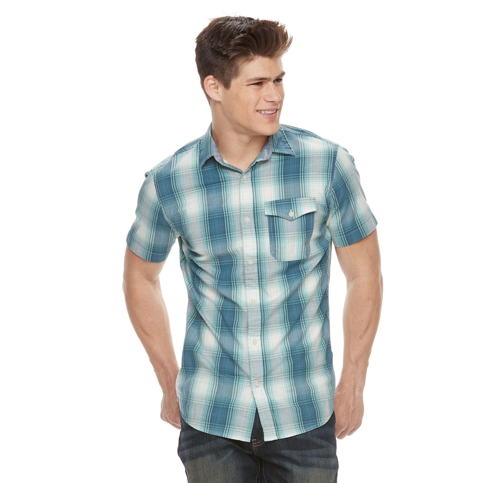 Men's Urban Pipeline® MaxFlex Plaid Button-Down Shirt, Size: Medium, Brt Blue