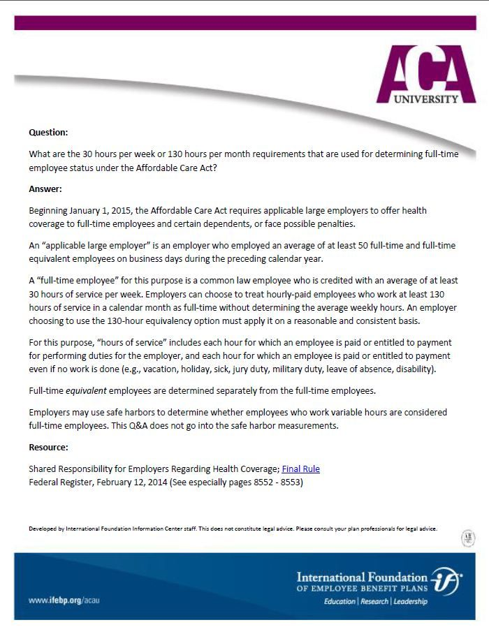 ACA FAQ: What are the 30 hours per week or 130 hours per ...
