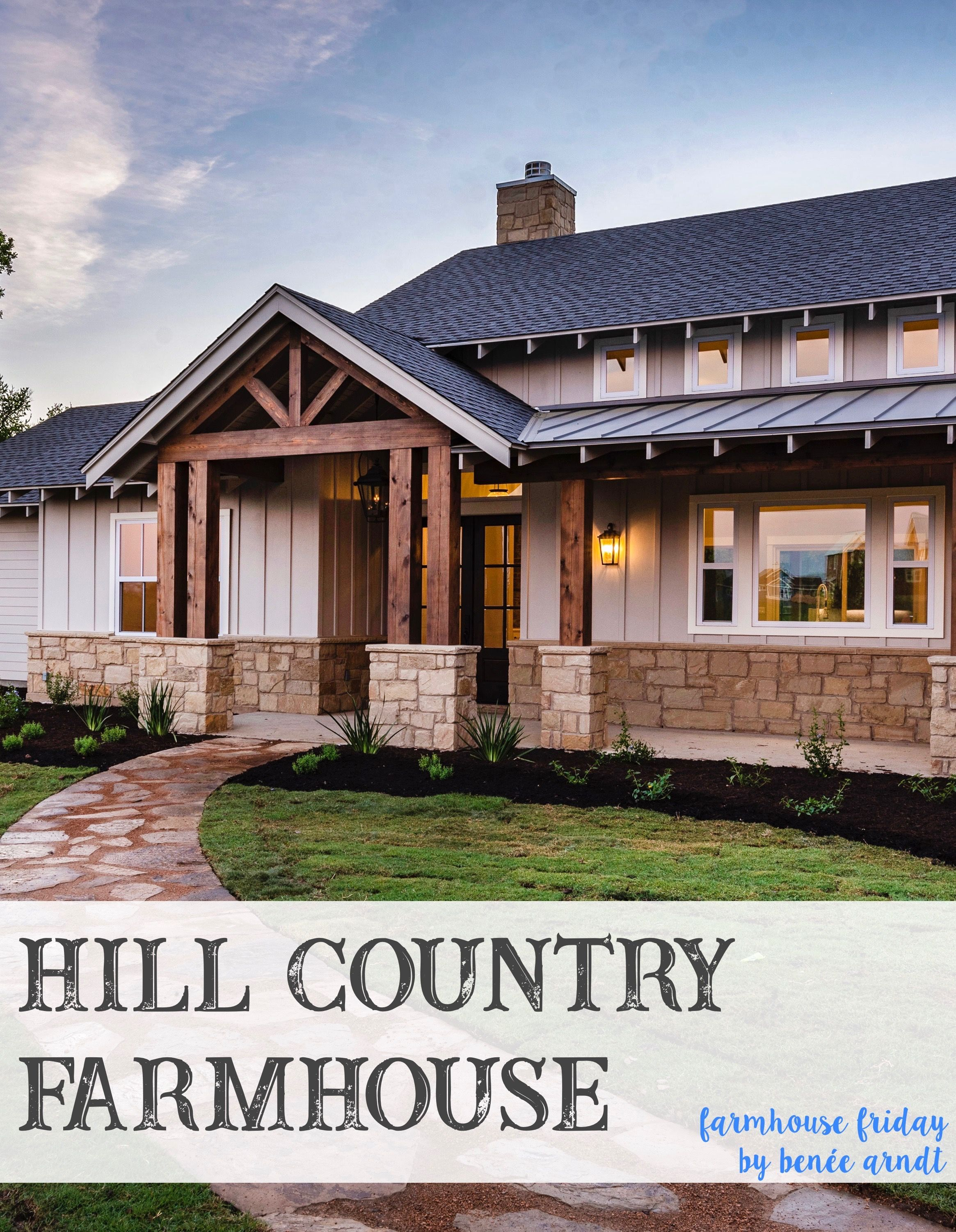 Beautiful Texas Hill Country Farmhouse Exterior Sandstone Board And Batten Cedar Bea Country House Design Small House Design Exterior House Designs Exterior