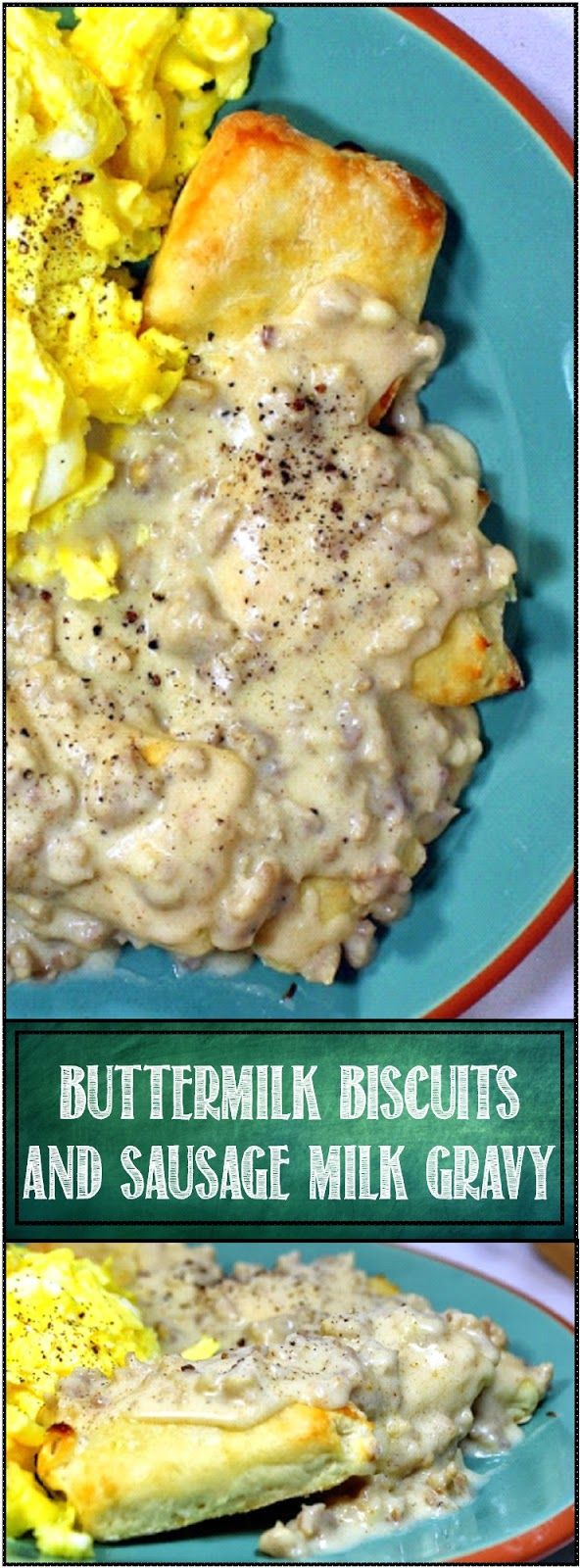 Buttermilk Biscuits and Sausage Milk Gravy -  It is FANTASTIC! The recipe is very easy to duplicate and has never failed me. Deliciously soft and flaky biscuits, tangy and flavorful gravy, just the right consistency and all OLD SCHOOL TASTINESS! Gravy and biscuit recipe in this pin! EASY, FAST and DELICIOUS!!!