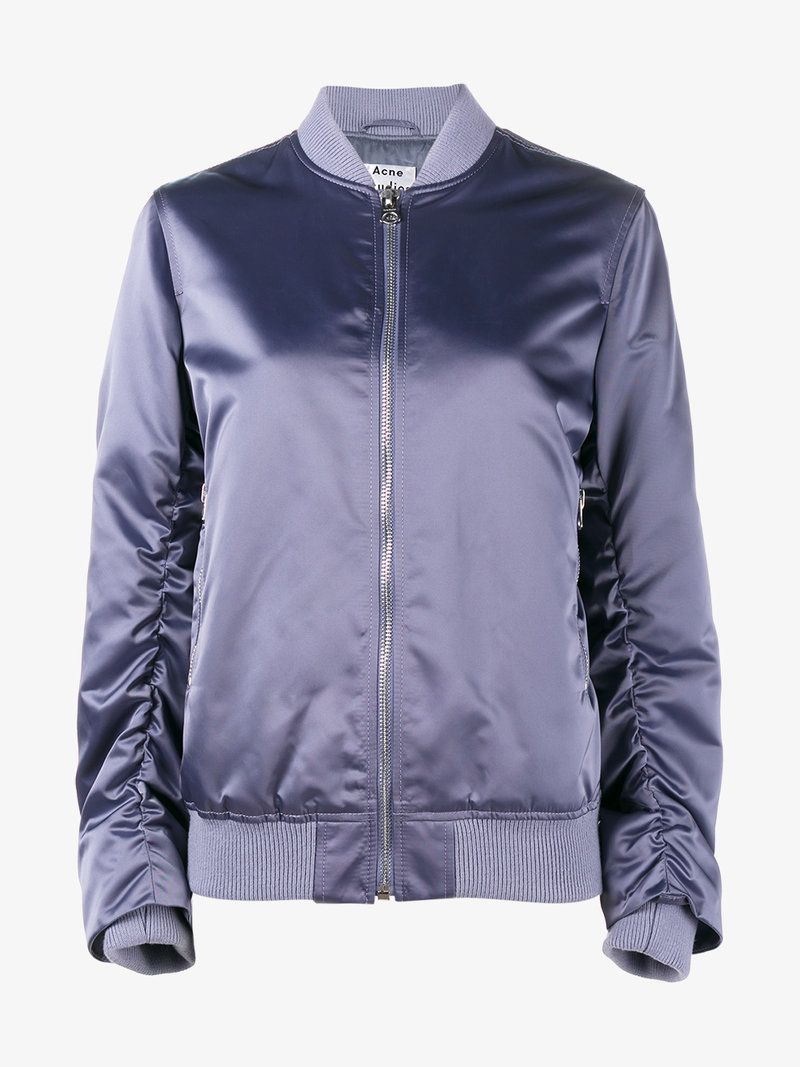 Acne Studios Ruched Sleeve Bomber Jacket Acnestudios Cloth Purple Bomber Jacket Acne Studios Jacket Bomber Jacket [ 1067 x 800 Pixel ]
