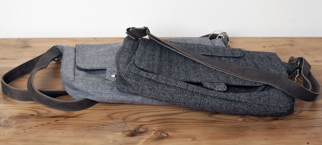 #functionartwa Messenger bags are featured on today's blog.  handmade from vintage wool suits, these bags don't lack in caring detail such as labels and pockets used in the interior from the original suits. www.themill.ca