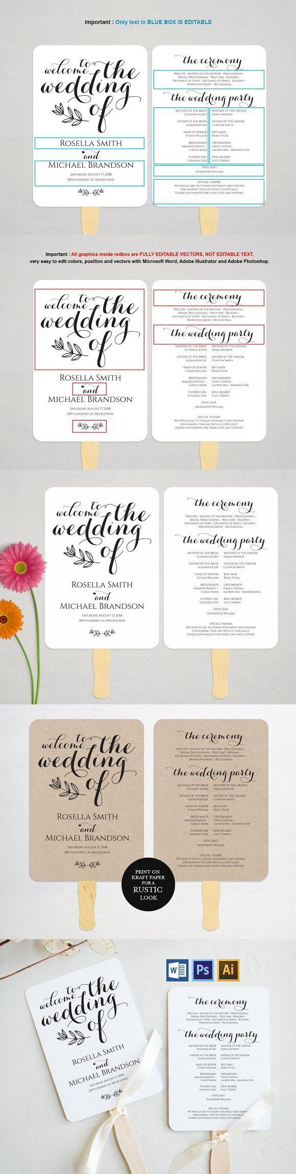 Wedding Program Fan MSW382 Invitation Templates Invitation